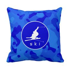 Camouflage Snow Skiing Throw Pillow created by SportsWare. Personalize it with photos & text or purchase as is!