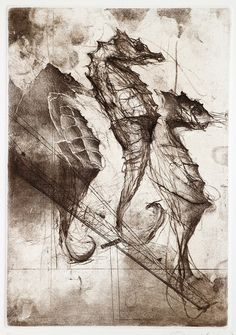 Jake Muirhead / Sea Horse / Soft-ground etching, aquatint and drypoint / 9 x 6 / 2016