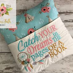 Grand Sewing Embroidery Designs At Home Ideas. Beauteous Finished Sewing Embroidery Designs At Home Ideas. Brother Embroidery, Embroidery Applique, Machine Embroidery Designs, Embroidery Patterns, Sewing Patterns, Book Pillow, Reading Pillow, Sewing Crafts, Sewing Projects
