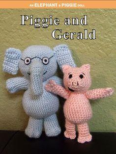 Piggie and Gerald Hand Crocheted Dolls