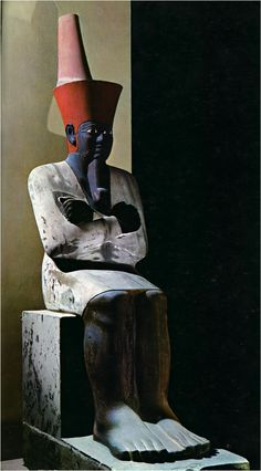 Statue of Mentuhotep, c.2010 BCE. // The unusual black skin is meant to associate the pharaoh with the black, fertile soil of the Nile.