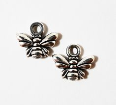 Silver Bee Charms 10x10mm Antique Silver Metal Honey Bee Bumble Bee Small Insect Bug Charm Pendant Jewelry Making Jewelry Findings 10pcs by BusyBeeBeadSupplies on Etsy