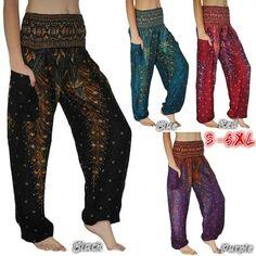 8ee52b09abe04 SEXY 13 Colors Women Boho Peacock Printed Pants Aladdin Harem Hippie Pants  Fashion