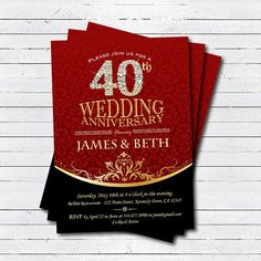 40th wedding anniversary invitation wedding anniversary invite ruby wedding anniversary invitation gala dinner celebration cocktail party black tie event bling sparkling black and red invite an002 stopboris Image collections
