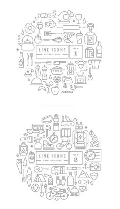 kitchen travel line icon set Web Design, Tool Design, Design Art, Print Design, Flat Design, Typography Design, Branding Design, Illustrator, Art Graphique