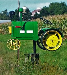 New Mailbox, Mailbox Ideas, Unique Mailboxes, Recycle Art, You've Got Mail, Mail Boxes, Weather Vanes, Antique Tractors, Outdoor Products
