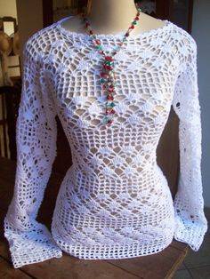Very Charming Blouse with stitches facilitated in the Graphic step by step | Crochet Patterns