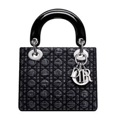 """A timeless work of art with a unique identity, the 'Lady Dior' bag is imbued with Dior's Couture spirit. This silver-coloured jacquard bag blends silk and wool for an appearance that is both sober and chic. The 'Cannage'-style  Size: 17 cm x 15 cm x 7 cm - """"D.i.o.r"""" letters in silver-tone metal - Leather interior 1 zipped pocket"""