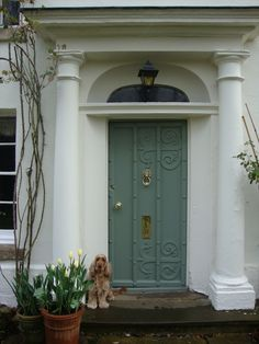 Audrey Utley - UK Colour: White Tie, Card Room Green Finish: Exterior masonry, Exterior Eggshell of votes Farrow & Ball Green Front Doors, Painted Front Doors, Front Door Colors, Farrow And Ball Front Door Colours, Farrow Ball, Farrow And Ball Paint, Exterior Colors, Exterior Paint, Card Room Green