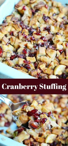 Cranberry Stuffing with Pecans. Delicious stuffing made with French baguette cranberries pecans and slightly sweetened broth. Cranberry Stuffing with Pecans. Delicious stuffing made with French baguette cranberries pecans and slightly sweetened broth. Turkey Stuffing Recipes, Vegetarian Stuffing, Stuffing Recipes For Thanksgiving, Vegan Thanksgiving, Christmas Stuffing, Thanksgiving Sides, Cranberry Recipes, Fall Recipes, Real Food Recipes