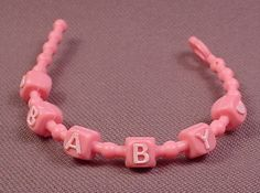 My Little Pony G1 Pink Baby Necklace With White Letters, Hasbro