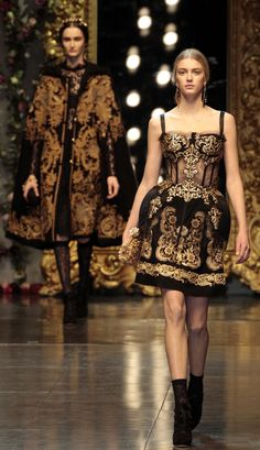D&G aw 2012-delicate lace creations, golden embroideries and rich velvet designs