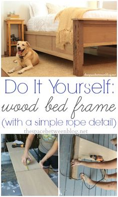 easy to follow tutorial from the space between blog about how to make a wood bed frame, she used a reclaimed wood beam for the leg posts ... so cool!