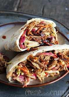 Memphis BBQ Pork Pitas with Southwest Slaw.juicy pork cooked all day and slathered in a sweet and sassy Memphis -style barbecue sauce, then stuffed into pita sandwich pockets alongside a tangy Southwest slaw Crock Pot Slow Cooker, Crock Pot Cooking, Slow Cooker Recipes, Crockpot Recipes, Cooking Recipes, I Love Food, Good Food, Yummy Food, Bbq Pork