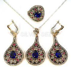 925 sterling silver set teardrop sapphire blue ruby red topaz hurrem sultan kosem