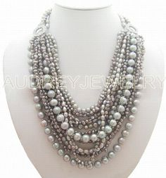 holiday party,bridesmaid gifts,Beaded Jewelry,Multi Strand pearl necklace With GREY Freshwater Pearl. $48.00, via Etsy.