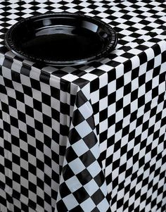 """Black Checkered Plastic Table Cover 54"""" X 108"""" Sold As 1 Each"""