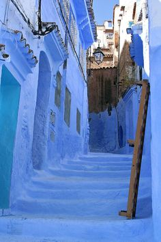 Street of stairs in Chefchaouen, Morocco