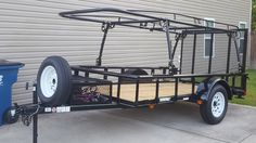 Carry on trailer and Harbor Freight truck rack. Carry On Trailer, Quad Trailer, Utility Trailer Camper, Kayak Trailer, Trailer Diy, Trailer Plans, Trailer Build, Atv Trailers, Adventure Trailers