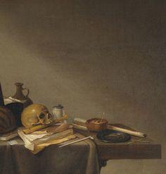 Pieter van Steenwyck (Países Bajos, 1615-1666). Detail of Vanitas. Memento Mori, Vanitas Paintings, Vanitas Vanitatum, Day Of The Dead Skull, Danse Macabre, Black Skulls, Life Inspiration, 17th Century, Still Life