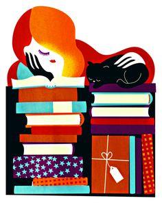 Many, many books to read throughout the year / Muchos, muchos libros para leer todo el año (ilustración de Sanna Mander)