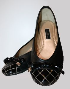 Zapatos Bailarina Negro Rombo