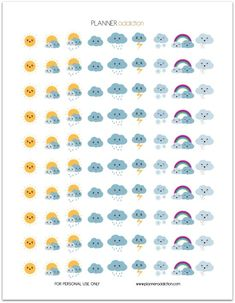 Weather Kawaii (Planner Addiction) Hello my planner addicts I will start to make more decorative printable planner stickers this week. Your suggestions are always appreciated. So today, it's Weather Kawaii. This Freebie fits in every Planner 2018, To Do Planner, Passion Planner, Free Planner, Planner Pages, Happy Planner, Blog Planner, Organized Planner, Teacher Planner