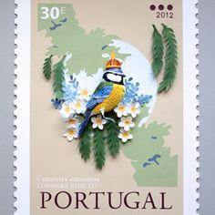 New Paper Bird Sculptures Juxtaposed With International Stamps by Diana Beltran Herrera