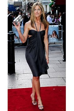 Her 10 Best: Jennifer Aniston's LBDs. 2006  She appeared at the London premiere of The Break Up in a seductive BCBG Max Azria halter-neck cocktail dress.