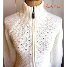 WHITE ZARA KNIT SWEATER White (as I see it) knit zip up ZARA sweater. Size medium. 100% acrylic. Thick and warm for winter. Excellent condition! Zara Sweaters