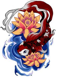Koi fish and lotus flowers tattoo drawing