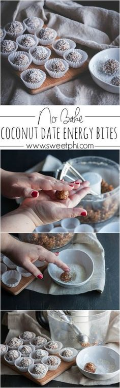 >>>Visit>> No bake coconut date energy bites date energy balls energy bites date recipes recipes with dates no sugar added dessert recipe gluten free and vegan recipe from Sweetphi Vegan Snacks, Vegan Desserts, Raw Food Recipes, Healthy Recipes, Recipes With Dates Healthy, Paleo Dessert, Coconut Recipes, Free Recipes, Diet Snacks