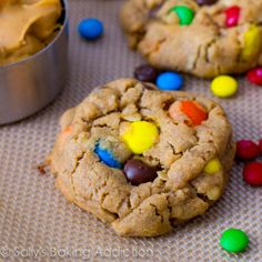Soft-Baked Peanut Butter Monster Cookies   I made these from Sally's Baking Addiction and they are one of the best tasting cookies I have ever made in my life!!! <3