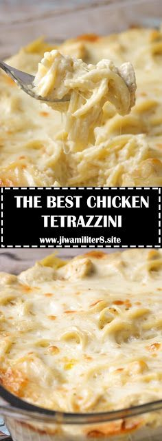 Easy and delicious Cheesy Chicken Tetrazzini - Chicken and pasta in a creamy sauce with lots of flavor. It's a family favorite dinner m. New Recipes, Dinner Recipes, Cooking Recipes, Favorite Recipes, Easy Recipes, Can Chicken Recipes, Retro Recipes, Side Recipes, Family Recipes
