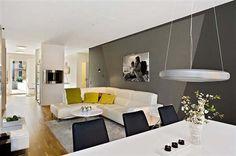 Amazing White Apartment Design with Cool White Sofa on Wooden Floor - Gothenburg Apartment