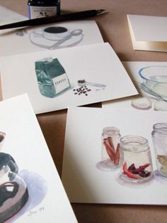 Kitchen Watercolors Cards - Set of 6