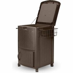 Suncast Resin Wicker Outdoor Bar Cart/Cooler (77 qts), fun patio cooler keeps dozens of drinks cold with extra storage on bottom and towel bar