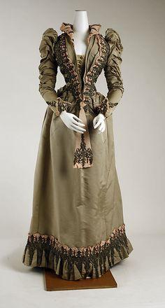 "1887-1891 beaded silk dress, American. Label: ""Duval and Egan, 16 West 23rd St. New York.""  Via MMA."