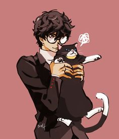 persona 5 fanart joker and morgana Persona Five, Persona 5 Memes, Persona 5 Joker, Ren Amamiya, Gamers Anime, Akira Kurusu, Manga, Animal Crossing, Game Art