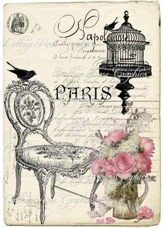 Paris*french*chair*birdcage*collage*8x10*quilt art fabric block