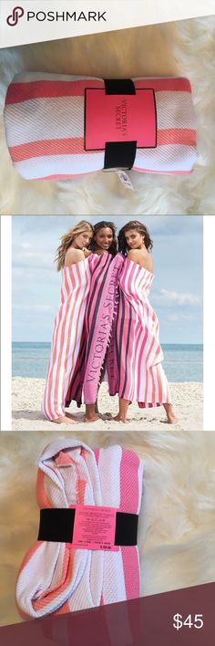 Victoria's Secret Beach 🌊 blanket 😍 Brand New!! Pink, white and black beach blanket! Brand New from Victoria's Secret (50in x 60in) perfect for laying out in the ☀️ and catching some rays😎 Victoria's Secret Other