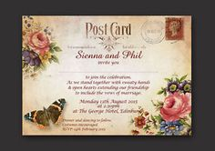UNIQUE-VINTAGE-VICTORIANA-SHABBY-CHIC-STYLE-PERSONALISED-WEDDING-INVITATIONS