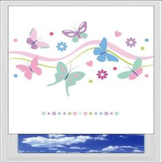 Pastel Butterflies Digitally Printed Photo Roller Blind has pink, blue, green and purple butterflies, hearts, daisy's and dots, with a row of daisy down in
