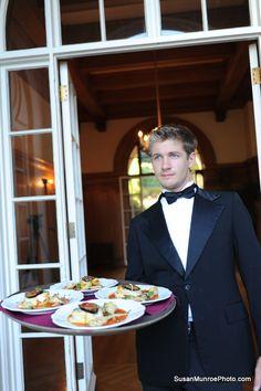 La Bocca fina wait staff in action  #wedding #catering #waiter  Caterer: www.laboccafina.com  location: www.montalvoarts.org  Photo: www.susanmunroephoto.com  Floral: www.amyburkedesigns.com  Cake: www.haveyourcake.org