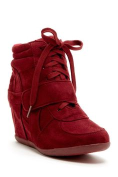 Karey Wedge Sneaker . A black or royal blue in this, not so much the red color.