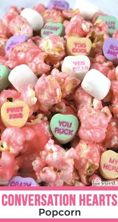 Conversation Hearts Popcorn - our sweet and salty popcorn mixed with iconic Valentine's Conversation Hearts candy. Gluten Free Marshmallows, Mini Marshmallows, Conversation Hearts Candy, Perfect Popcorn, Popcorn Mix, Pink Desserts, Pink Foods, Valentines Day Desserts, Converse With Heart