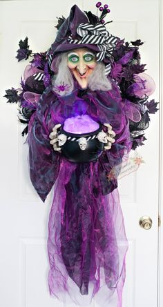 XL Light up with Sound Witch Wreath, Witch Mesh Wreath, Witch Cauldron, XL Halloween Mesh Wreath, Halloween Witch Wreath by Splendid Homecrafts on Etsy