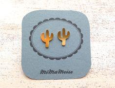 ➤+Jungle+Plant+vergoldet+Kaktus+Ohrstecker++von+☾●++MiMaMeise+●☽+auf+DaWanda.com