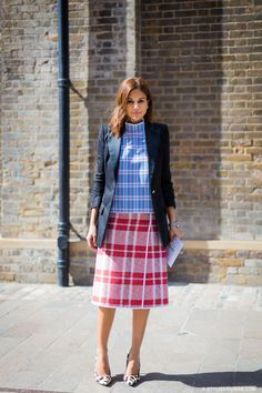 checkered outfit with structured blazer
