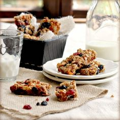 I made this granola bar recipe tonight and they turned out delish. Instead of using wheat germ, I substituted part ground flax seed and part ground chia seed, walnuts and the only dried fruit I had were cranberries. Very yummy, but make sure you have the parchment paper to get these out of the pan...they really stick, no matter how much you try to butter/oil the pan.
